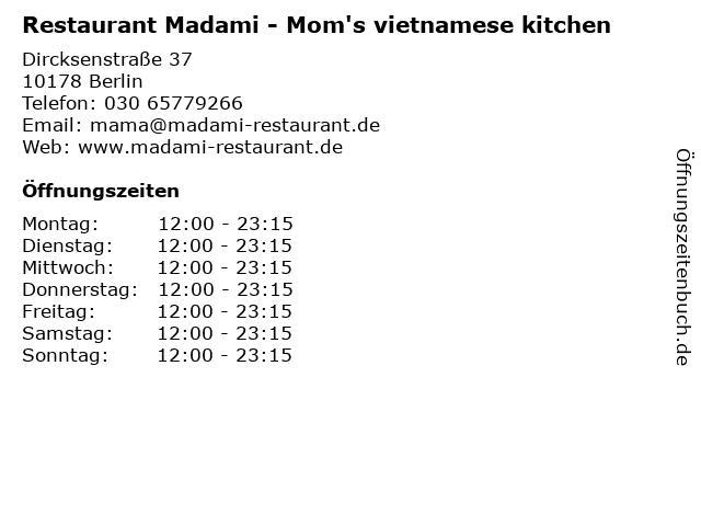 Restaurant Madami - Mom's vietnamese kitchen in Berlin: Adresse und Öffnungszeiten