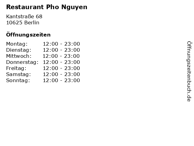 Restaurant Pho Nguyen in Berlin: Adresse und Öffnungszeiten
