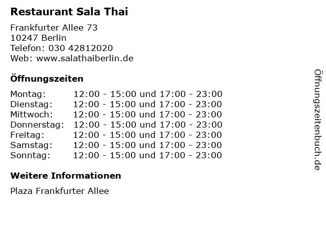 Restaurant Sala Thai in Berlin: Adresse und Öffnungszeiten
