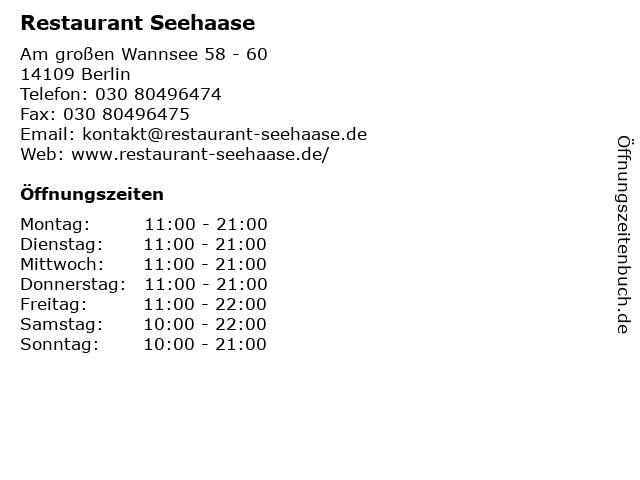 Restaurant Seehaase in Berlin: Adresse und Öffnungszeiten