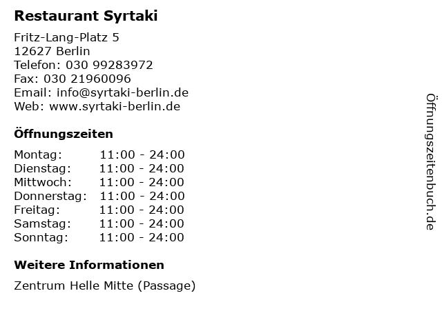 Restaurant Syrtaki in Berlin: Adresse und Öffnungszeiten