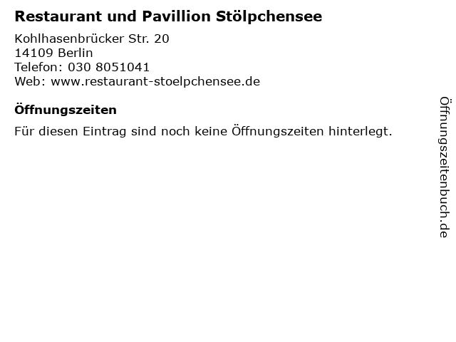Restaurant und Pavillion Stölpchensee in Berlin: Adresse und Öffnungszeiten