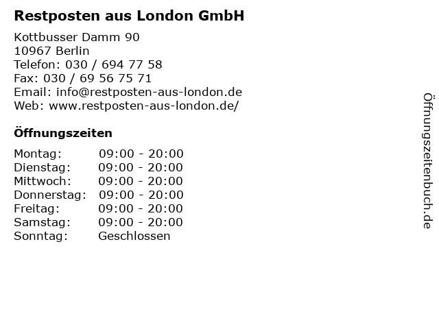 Restposten aus London GmbH in Berlin: Adresse und Öffnungszeiten