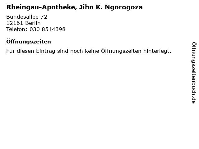 Rheingau-Apotheke, Jihn K. Ngorogoza in Berlin: Adresse und Öffnungszeiten