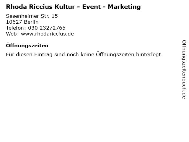 Rhoda Riccius Kultur - Event - Marketing in Berlin: Adresse und Öffnungszeiten