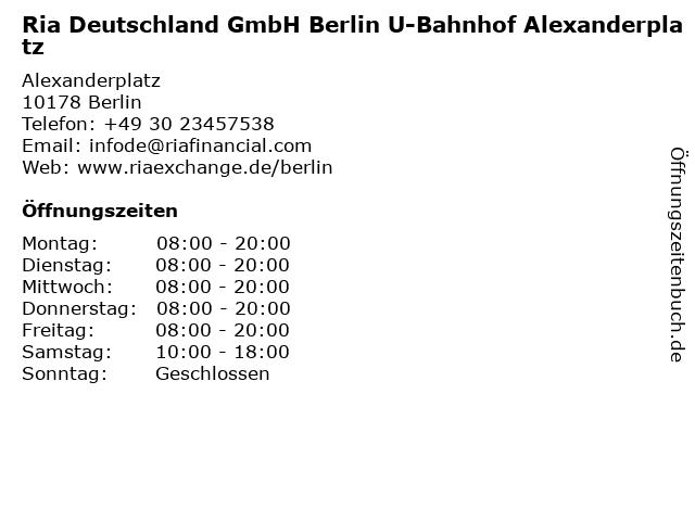 Ria Deutschland GmbH Berlin U-Bahnhof Alexanderplatz in Berlin: Adresse und Öffnungszeiten