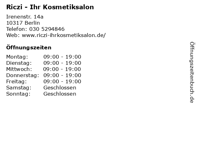 Riczi - Ihr Kosmetiksalon in Berlin: Adresse und Öffnungszeiten