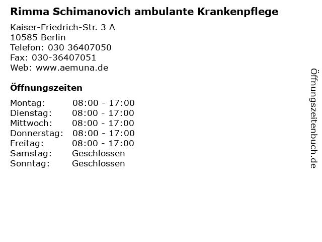 Rimma Schimanovich ambulante Krankenpflege in Berlin: Adresse und Öffnungszeiten