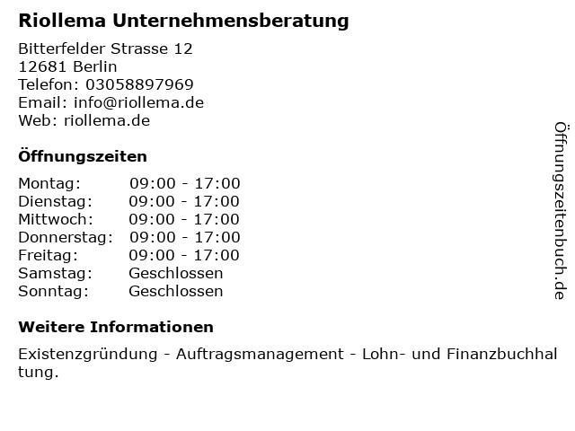 Riollema Unternehmensberatung in Berlin: Adresse und Öffnungszeiten