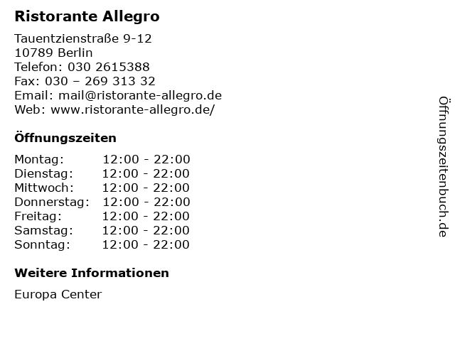 Ristorante Allegro in Berlin: Adresse und Öffnungszeiten