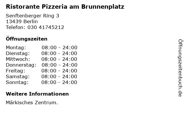 Ristorante Pizzeria am Brunnenplatz in Berlin: Adresse und Öffnungszeiten