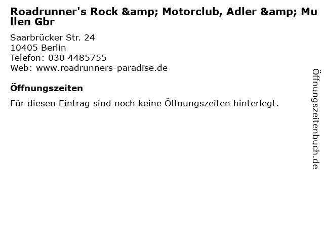 Roadrunner's Rock & Motorclub, Adler & Mullen Gbr in Berlin: Adresse und Öffnungszeiten