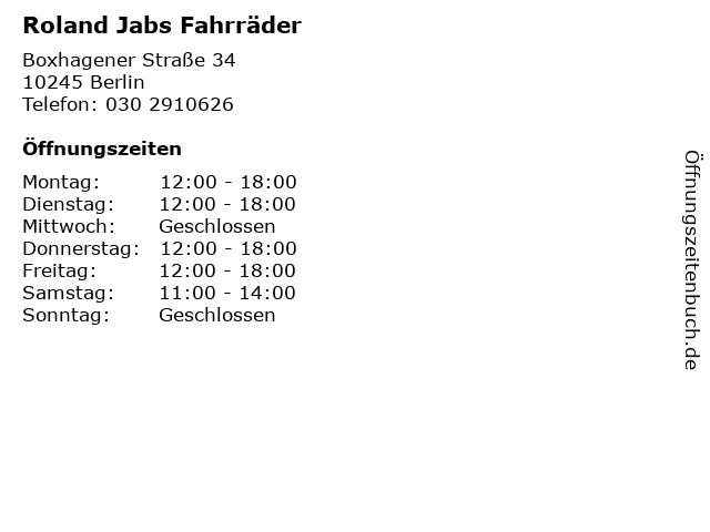 Roland Jabs Fahrräder in Berlin: Adresse und Öffnungszeiten