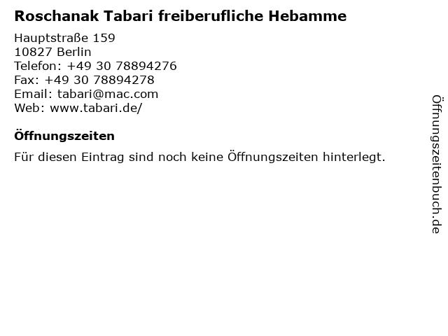 Roschanak Tabari freiberufliche Hebamme in Berlin: Adresse und Öffnungszeiten