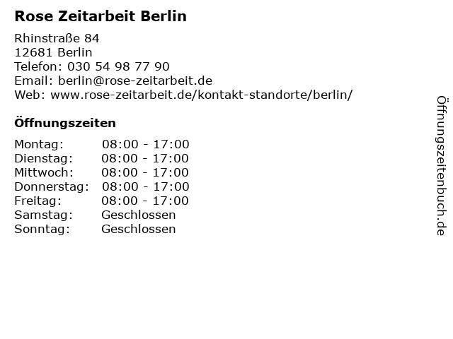 Rose Zeitarbeit Berlin in Berlin: Adresse und Öffnungszeiten