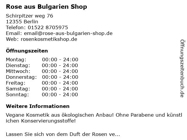 Rose aus Bulgarien Shop in Berlin: Adresse und Öffnungszeiten