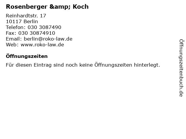 Rosenberger & Koch in Berlin: Adresse und Öffnungszeiten
