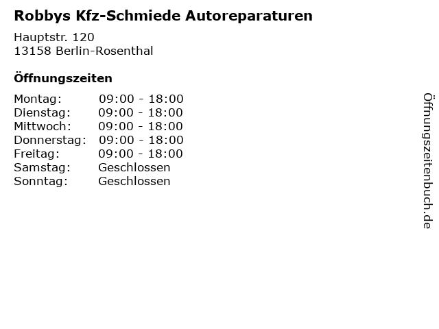 Robbys Kfz-Schmiede Autoreparaturen in Berlin-Rosenthal: Adresse und Öffnungszeiten