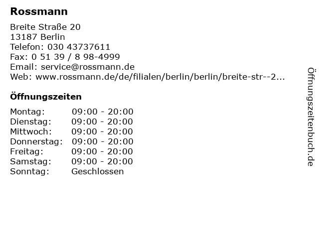 Dirk Rossmann GmbH in Berlin: Adresse und Öffnungszeiten