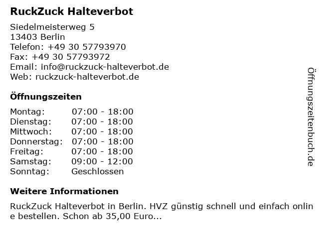 RuckZuck Halteverbot in Berlin: Adresse und Öffnungszeiten