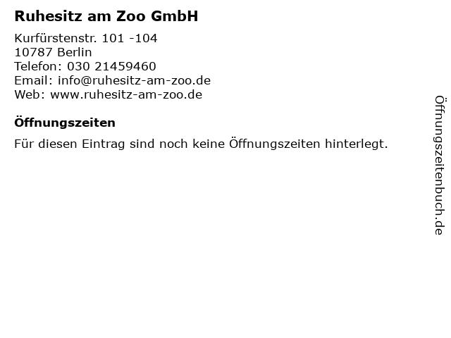 Ruhesitz am Zoo GmbH in Berlin: Adresse und Öffnungszeiten