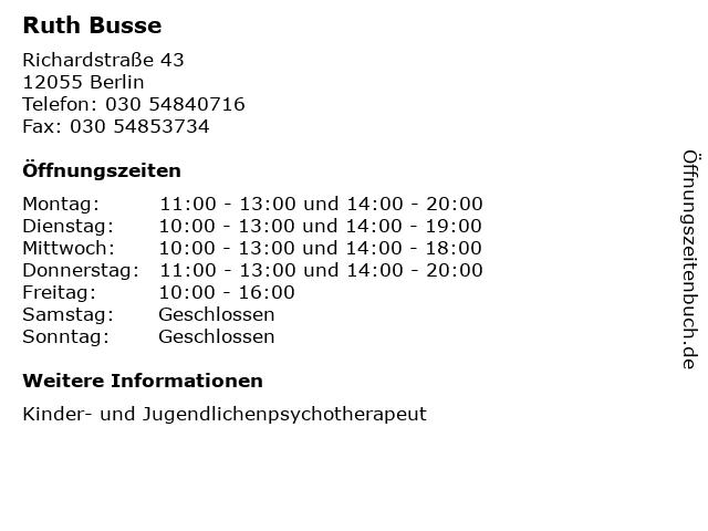 Ruth Busse in Berlin: Adresse und Öffnungszeiten