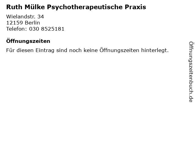Ruth Mülke Psychotherapeutische Praxis in Berlin: Adresse und Öffnungszeiten