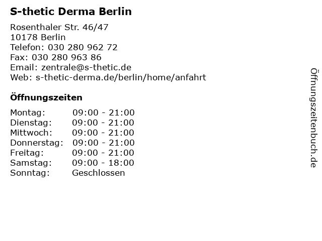 S-thetic Derma Berlin in Berlin: Adresse und Öffnungszeiten