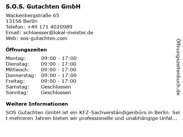 S.O.S Gutachten GmbH - Kfz Werkstatt und Gutachten in Berlin: Adresse und Öffnungszeiten