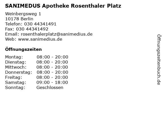 SANIMEDUS Apotheke Rosenthaler Platz in Berlin: Adresse und Öffnungszeiten