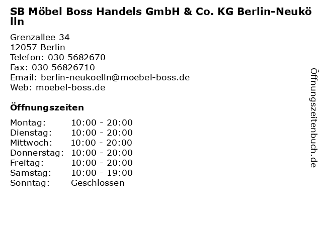 ᐅ öffnungszeiten Sb Möbel Boss Handels Gmbh Co Kg Berlin