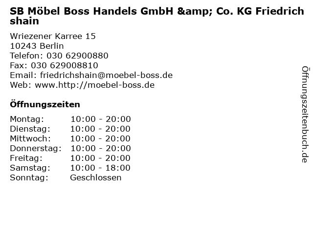SB Möbel Boss Handels GmbH & Co. KG Friedrichshain in Berlin: Adresse und Öffnungszeiten
