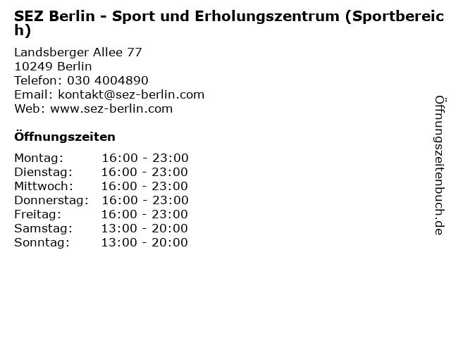 SEZ Berlin - Sport und Erholungszentrum (Sportbereich) in Berlin: Adresse und Öffnungszeiten