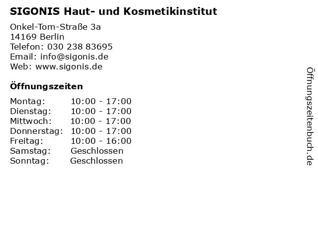 SIGONIS Haut- und Kosmetikinstitut in Berlin: Adresse und Öffnungszeiten