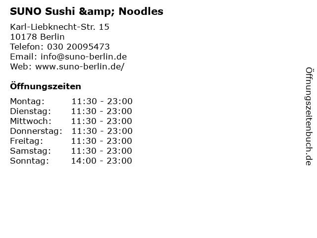 SUNO Sushi & Noodles in Berlin: Adresse und Öffnungszeiten