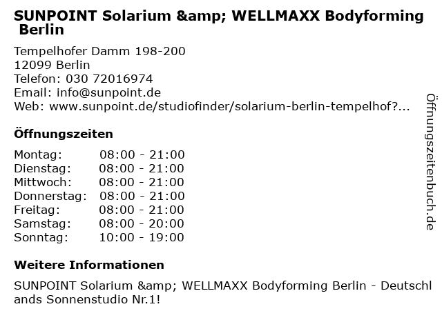 SUNPOINT Solarium & WELLMAXX Bodyforming Berlin in Berlin: Adresse und Öffnungszeiten
