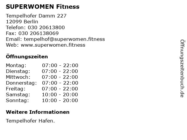 SUPERWOMEN Fitness in Berlin: Adresse und Öffnungszeiten