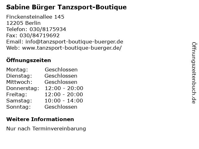 Sabine Bürger Tanzsport-Boutique in Berlin: Adresse und Öffnungszeiten