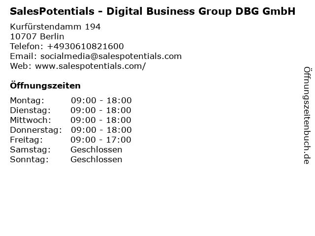 SalesPotentials - Digital Business Group DBG GmbH in Berlin: Adresse und Öffnungszeiten