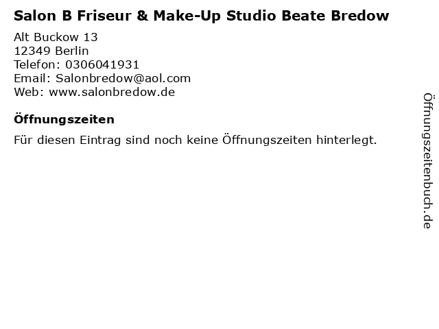 Salon B Friseur & Make-Up Studio Beate Bredow in Berlin: Adresse und Öffnungszeiten
