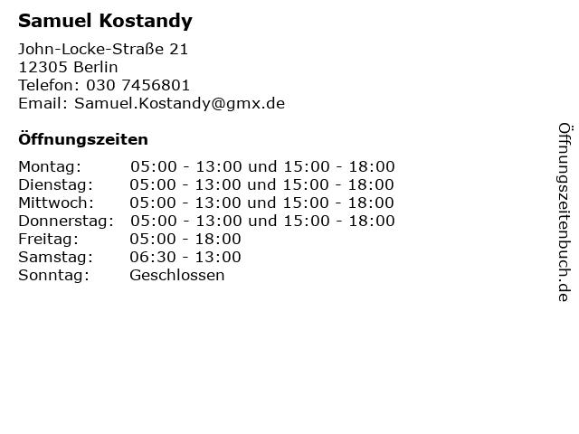 Samuel Kostandy in Berlin: Adresse und Öffnungszeiten
