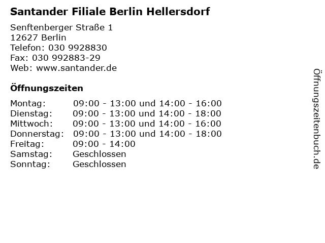 Santander Filiale Berlin Hellersdorf in Berlin: Adresse und Öffnungszeiten