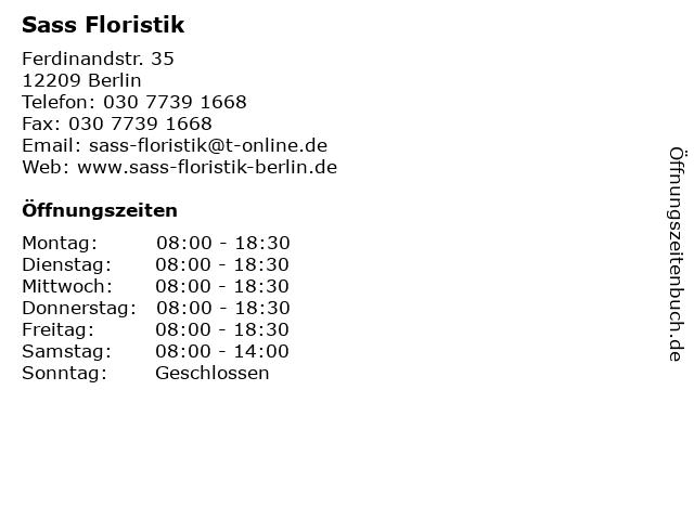 Sass Floristik in Berlin: Adresse und Öffnungszeiten