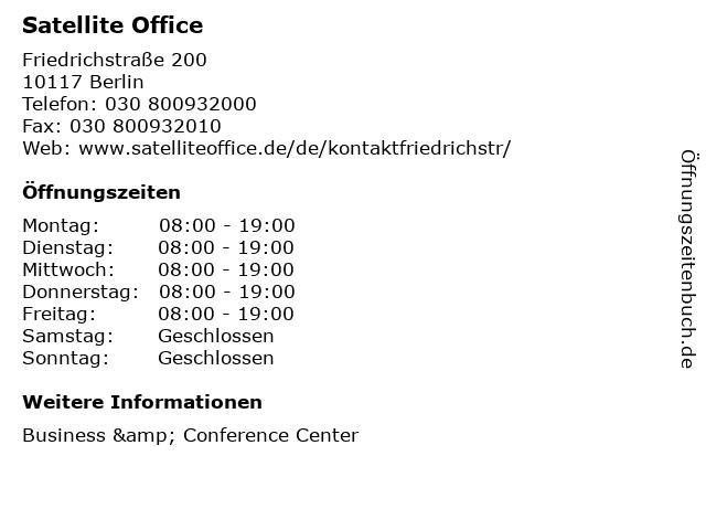 Satellite Office in Berlin: Adresse und Öffnungszeiten