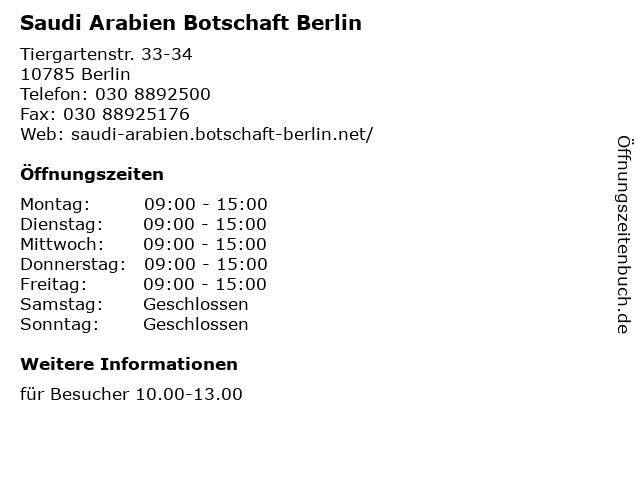 Saudi Arabien Botschaft Berlin in Berlin: Adresse und Öffnungszeiten