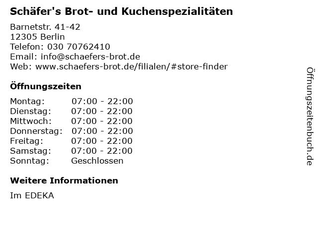 Schäfer's Brot- und Kuchenspezialitäten in Berlin: Adresse und Öffnungszeiten