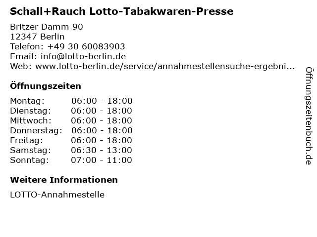Schall+Rauch Lotto-Tabakwaren-Presse in Berlin: Adresse und Öffnungszeiten