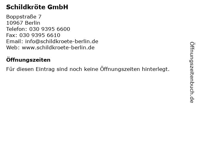 ᐅ öffnungszeiten Schildkröte Gmbh Boppstraße 7 In Berlin