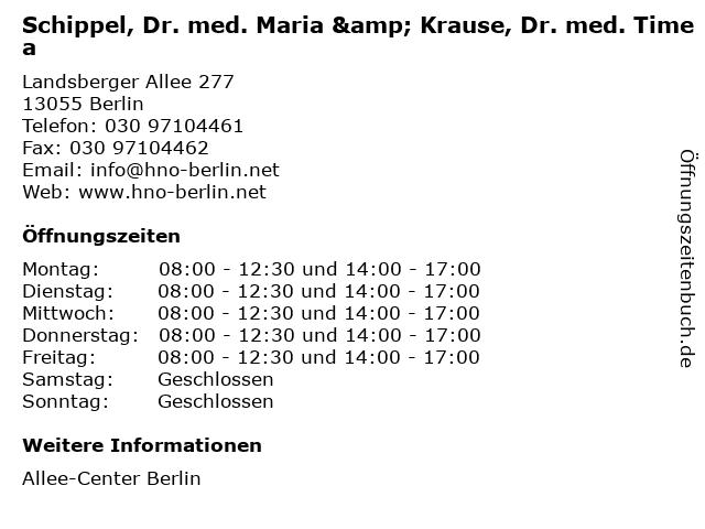 Schippel, Dr. med. Maria & Krause, Dr. med. Timea in Berlin: Adresse und Öffnungszeiten