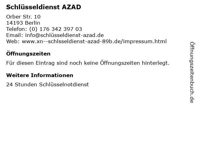 Schlüsseldienst AZAD in Berlin: Adresse und Öffnungszeiten